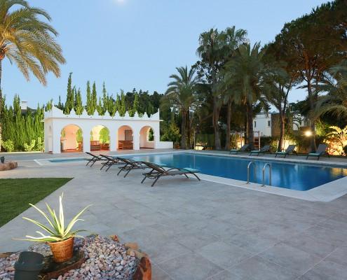 Villa pool in the evening Marbella rental