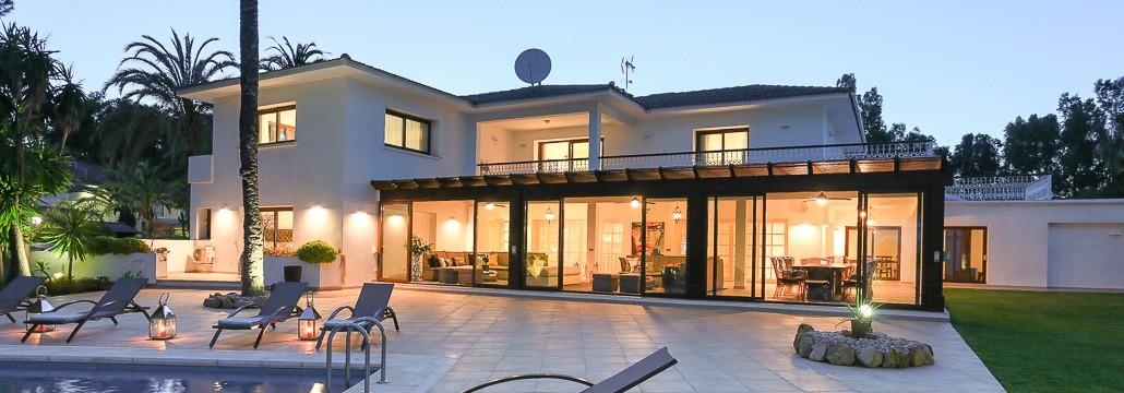 Luxury Marbella villa at dusk