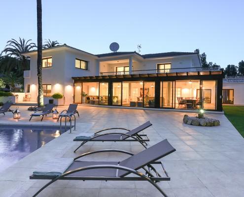 Marbella villa at dusk rental family