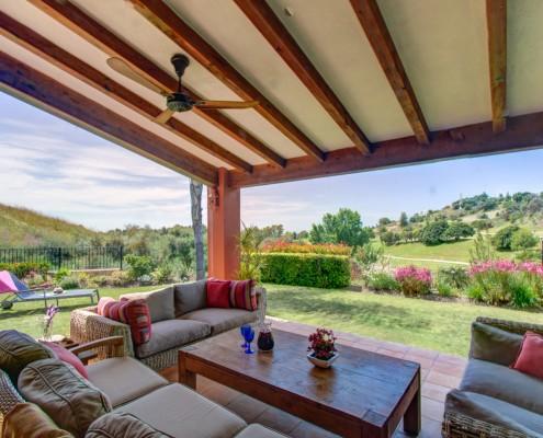 Shady outdoor villa living