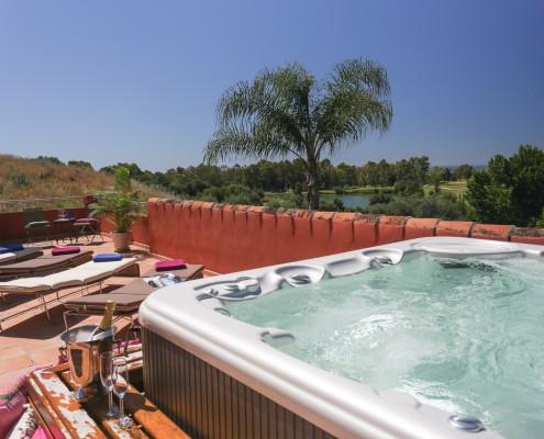 Hot tub with sea views