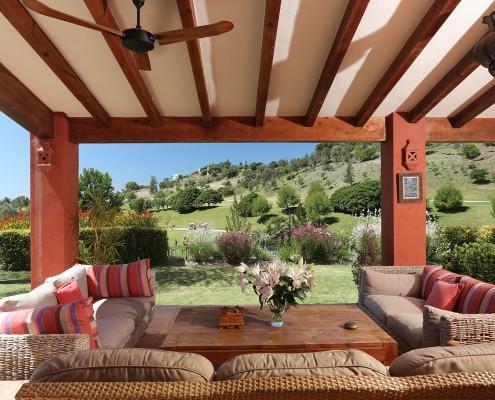 Villa porch overlooking gardens