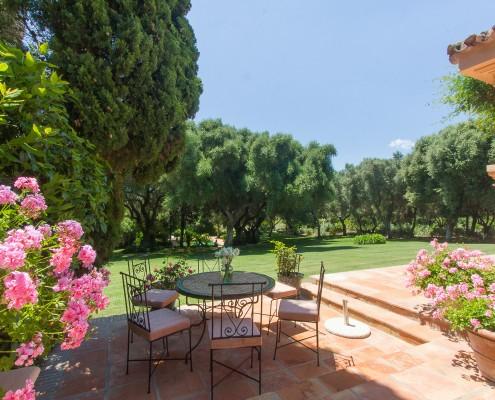 Villa terrace and gardens