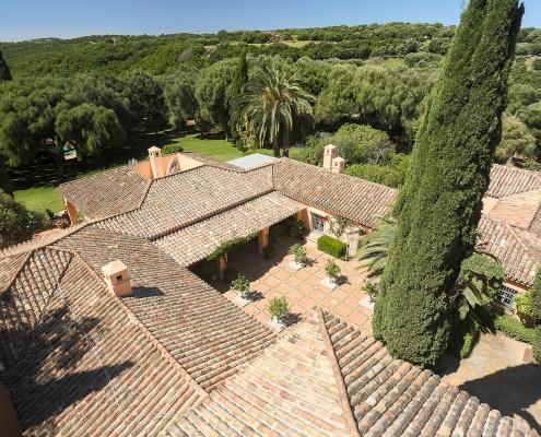 Aerial view of El Chorrito and Sotogrande countryside villa rental