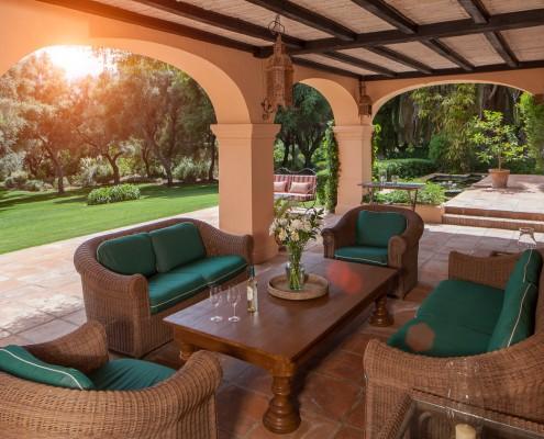Private villa terrace in mature gardens