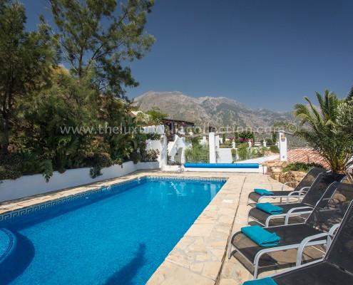 Malaga luxury villa pool with sea views