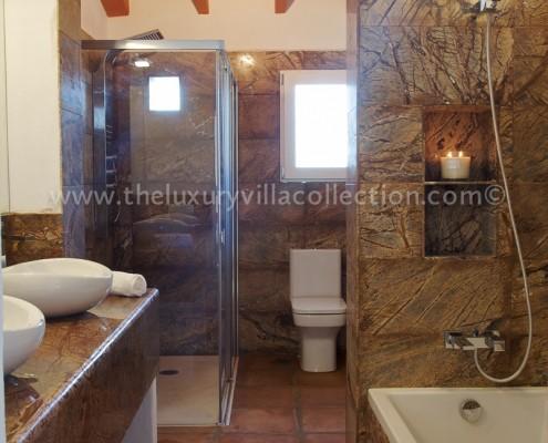 luxury marble bathroom Malaga villa rental