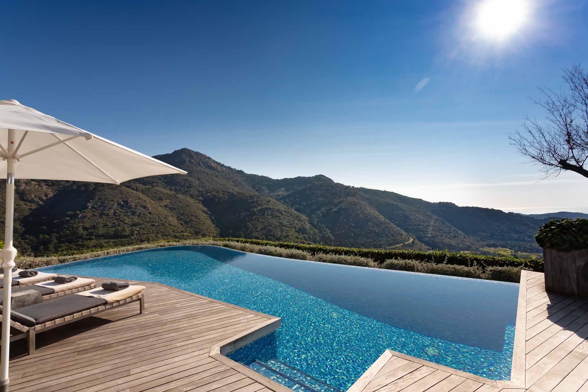 view from the pool at villa chantay