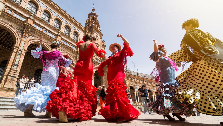 Flamenco Dancers in Plaza de Espana, Seville
