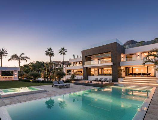Villa Zenith luxury villa house and garden at sunset