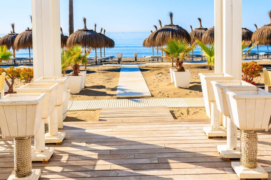 Marbella beach and restaurant