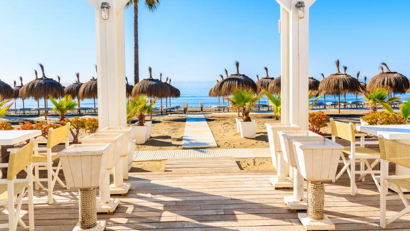 Marbella beach club in Spring